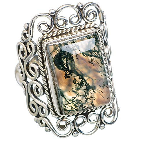 Ana Silver Co Green Moss Agate 925 Sterling Silver Ring Size 7.75 RING777640 (Moss Agate Ring compare prices)