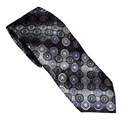 Croft & Barrow Men's Tie With Hanky & Cuff Link Set (Purple/Grey)