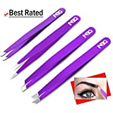 4 Tweezers Set Tips, Precision Calibrated, Point, Slant, Classic, Pointed Slant, Including Black Faux Leather Case, Color (Purple)
