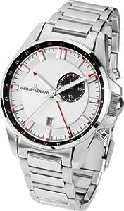 Jacques Lemans  Liverpool GMT - Reloj de cuarzo para hombre, con correa de acero inoxidable, color plateado