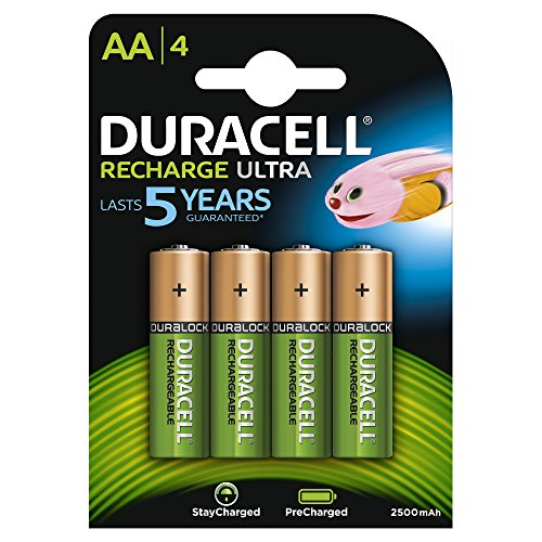 Duracell - Recharge Ultra - Piles Rechargeable AA - 2400 ou 2500 mAh - Pack de 4