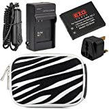 EZOPower DMW-BCL7 Battery + Charger Kit + Silver Zebra Eva Case + UK Plug for Panasonic Lumix DMC-XS3, XS1, SZ8, SZ9, SZ3, FS50, F5 Digital Camera