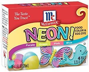 McCormick Food Colors & Egg Dye, Four Assorted Neon, 0.25-Ounce Vials (Pack of 6)
