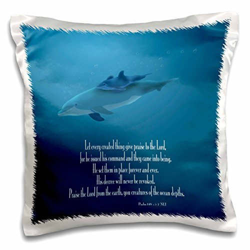 3dRose pc_36108_1 Mother and Baby Dolphin swimming in the aqua colored ocean with the Bible verse Psalm 148 v 5-7-Pillow Case, 16 by 16