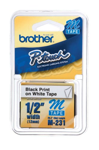 Brother M231 Lettering Tape, 12mm, 0.47in x 26.2ft (12mm x 8m) (Brother M231 Tape compare prices)