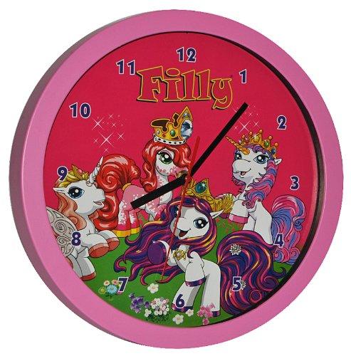 Wanduhr Filly Pferd – rosa 30 cm groß Uhr Kinderzimmer Kinderuhr Deko analog Einhorn Magic Pferde rosa Mädchen günstig bestellen