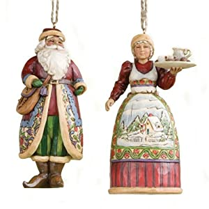 Jim Shore Heartwood Creek Santa & Mrs. Claus Ornament Set 4.25 IN