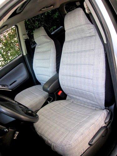happy seat car seat covers universal fit bucket black white preppy plaid print machine. Black Bedroom Furniture Sets. Home Design Ideas