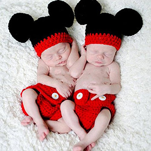 Jastore® 2 Pieces Twins Photography Prop Red Mouse Knitted Crochet Costume