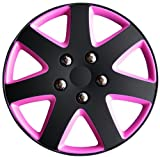 Best Hubcaps - AutoStyle KT962-13BK/PNK Hubcap Set Michigan 13 Matblack/Pink Review