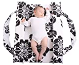 Mitata Portable Crib Bassinet Co Baby Sleeper Bed Moses Basket, black and white