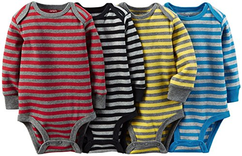 Carter's Baby Boys' 4 Pack Striped Bodysuits (Baby) - Assorted - 3M
