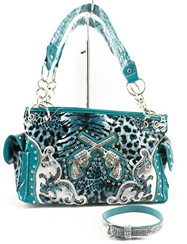Rhinestone Gun Concealed Weapon Carry Purse Western Cowboy Boot Strap Set Blue Cheetah Leopard
