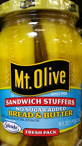 Mt. Olive Sandwich Stuffers Bread & Butter Pickles, No Sugar Added 16 Oz (Pack of 3) (Bread Butter Pickles compare prices)