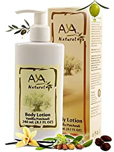 Aya Natural Patchouli Vanilla Body Lotion for Dry Skin Natural Vegan Olive Oil Sensitive Cracked Skin Moisturizing Cream 8.1 oz Olive, Jojoba, Avocado & Almond Oils Blend