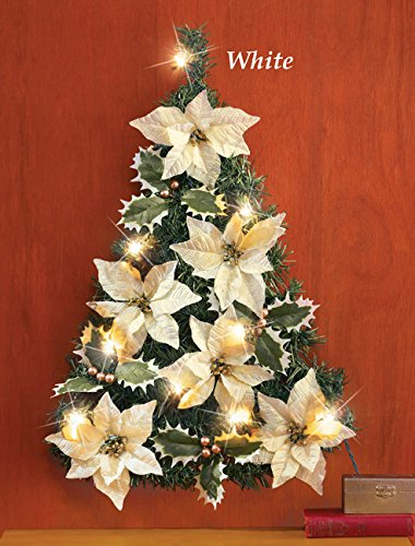 Led Lighted White Ivory Christmas Tree Shaped Poinsettia Flowers Holly Ivy Leaves Berries Wall Decor Home Accent Holiday Decoration