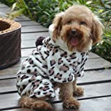 PanDaDa Pet Dog Coral Fleece Leopard Jacket Dress Up Faux Fur Coat Puppy Hoodies