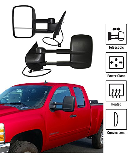 2007-2013 Chevy Silverado / GMC Sierra Towing Mirrors Pair Set Power Heated Glass With Convex Lens Telescoping Pickup Truck Side View Mirrors (2007 Chevy Silverado Tow Mirrors compare prices)