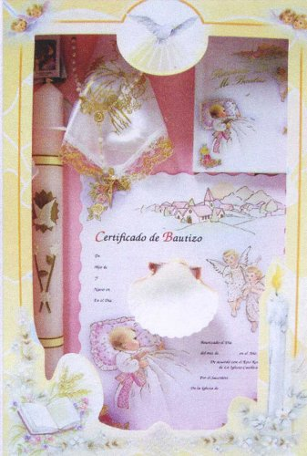 Baptism Gift Sets - Rosary - Sculptured Candle - Missal - Hanky - Shell - Gift Box 16in.x10in. - SPANISH, Boy