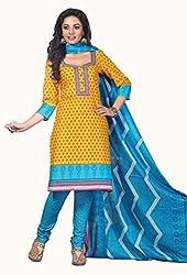 HIFI Ethnicwear Women's Dress Material YELLOW_Free Size