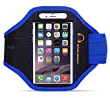 Gear Beast Premium Nylon/Neoprene Sports Armband for Apple iPhone 6 Plus (5.5 Inch) & Samsung Galaxy Note 4 / 3/ 2 / Note Edge & Galaxy S5 Active & More (Blue)