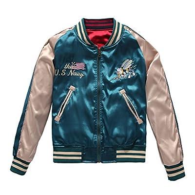SanYes Women's Double-Sided Design Embroidered Jacket Souvenir Jacket Bomber Jacket