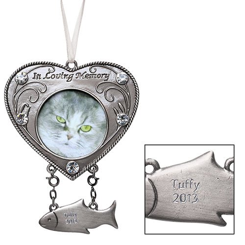 Cat Memorial Ornament with Charm