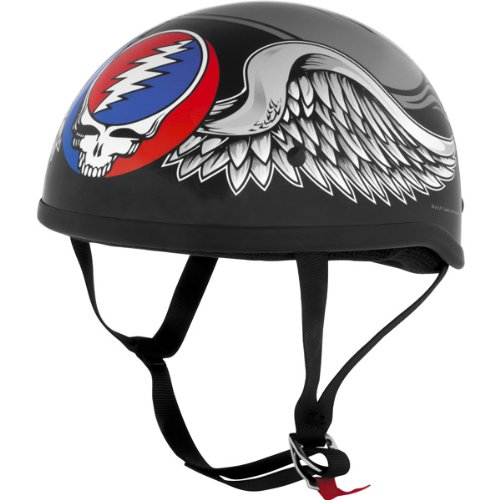River Road Grateful Dead Flying Steal Your Face Men's Harley Motorcycle Helmet w/ Free B&F Heart Sticker Bundle – Large