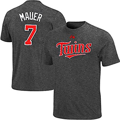 Joe Mauer #7 Majestic Minnesota Twins Granite Player Tee Shirt Big & Tall Sizes