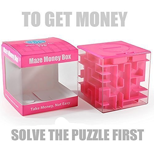 Trekbest Money Maze Puzzle Box - Amazing Puzzle Box for Kids as Christmas Gift Birthday Gift (Pink)