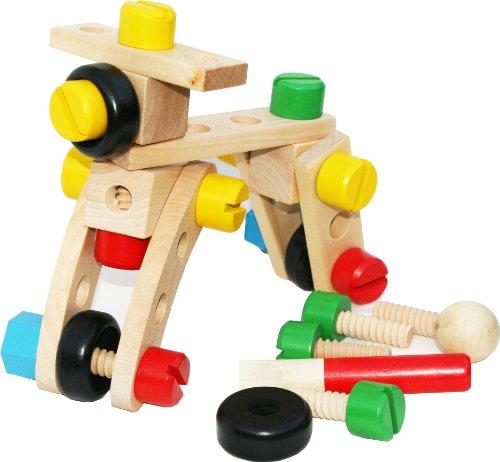 Bloques de construcción de madera con tuercas- Kit de 30 piezas