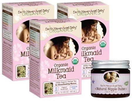 Earth Mama Angel Baby Organic Milkmaid Tea (3 Pack) With Nipple Butter