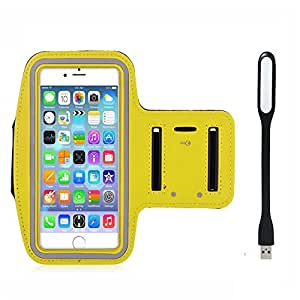 New Hot (5.5) Arm Band Workout Cover Sport Gym Case For Apple iPhone 6 Plus With USB Led Light