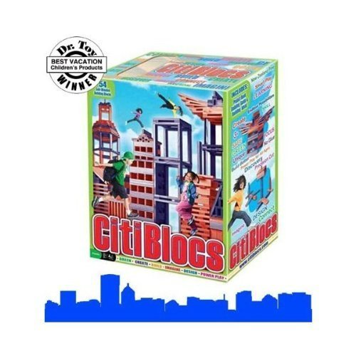 Citiblocs 54 Piece Color Wooden Building Bloc Set (CTB54) Red & Blue - 1
