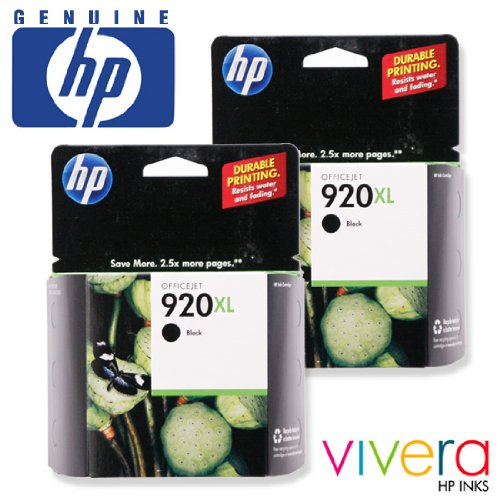 Hp 920Xl Black Ink Cartridge 2- Pack In Retail Packaging (Cd975An)