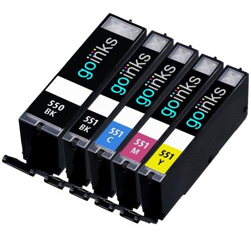 1 Kompatibel Set von 5 Tintenpatronen zu ersetzen PGI-550 & CLI-551 (5 Tinten) - Schwarz / Cyan / Magenta / Gelb für den einsatz in Canon Pixma iP7250, iP8750, iX6850, MG5450, MG5550, MG5650, MG6350, MG6450, MG6650, MG7150, MG7550, MX725, MX925
