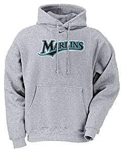 Florida Marlins MLB Grey Embroidered Tackle Twill Hooded Sweatshirt By Nike Team... by Nike