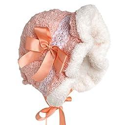 Hanakimi Warm Baby Royal Bonnet Handmade Orange (Newborn - 3 Years) (XS/3M)