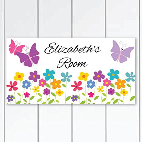 Garden Party Colorful Butterflies Girls Nursery Door Sign Plaque, Personalized Wall Art for Girls Bedroom, Flowers Girls Door Sign (Door Signs For Kids compare prices)