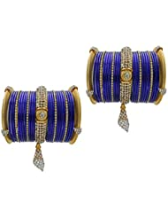 Blue Jhumki Bridal Chura Wedding Bangles Chuda By My Design(size-2.6)