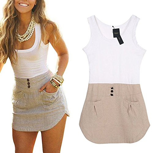 Mansy Women's Ladies Chiffon Long Top Blouse Summer Womens Sleeveless Mini Dress (M)