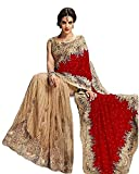 Radiance Star Womens Velvet & Net Saree (RS:SS1079_maroon_Free Size)