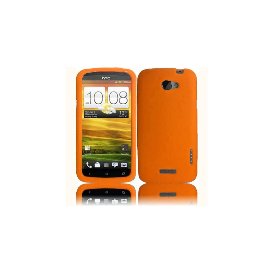 Orange Soft Silicone Skin Gel Cover Case for HTC One X (AT&T) + Microfiber Pouch Bag