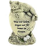 """Tiergrabstein Grabschmuck Katzen Gedenkstein Grabdek """"Katze liegend auf Stein"""""""