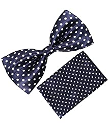 Greyon Blue With Dot Bow Tie With Pocket Square (GNA003)
