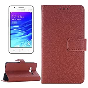 Crazy4Gadget Litchi Texture Horizontal Flip Leather Case with Card Slots & Holder for Samsung Z1/Z130H(Brown)