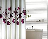 Purple Flower Polyester Waterproof Mildew Shower Curtain Thick 180X200cm