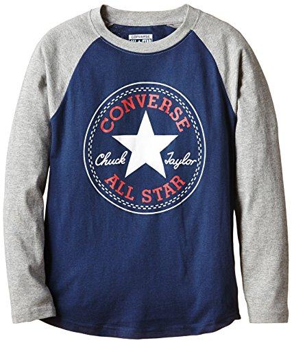 Converse - Chuck Patch Raglan, T-shirt Bambino, Blu (Navy), Medium (Taglia Produttore: 10-12Y)
