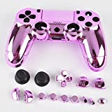 3CLeader® Housing Case Cover Shell Skin for PS4 DualShock 4 Controller with Buttons Chrome Plating Color Pink