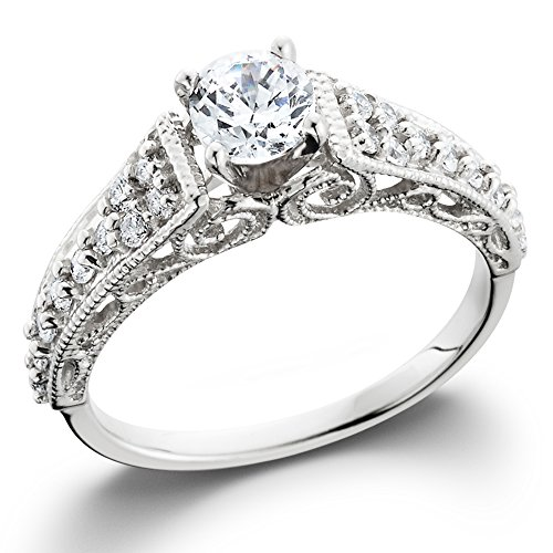 5/8ct Vintage Filigree Diamond Engagement Ring 14K White Gold (Filigree Engagement Ring compare prices)
